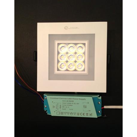 Spot LED carré 9W encastrable avec double ambiance