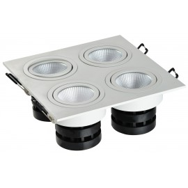 Spot LED carré 4x6W encastrable, dimmable et orientable